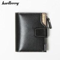 Baellerry Short Men Wallets Genuine Leather PU Male Hasp Purse Card Holder Wallet Men Soft Zipper