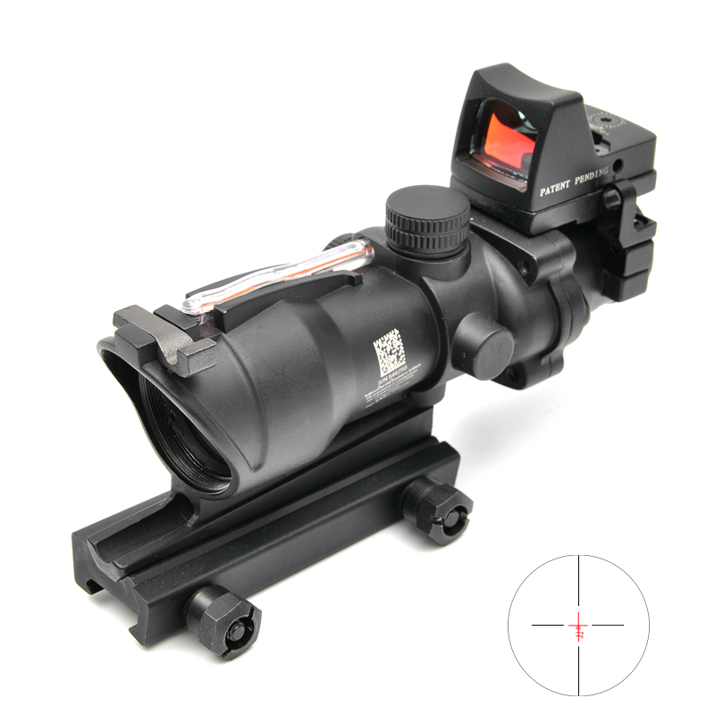 Tactical ACOG 4X32 Red Dot Sight Scope Real Red Fiber Source Red Illuminated Rifle Scope w/ RMR Micro Hunting Scopes trijicon acog 4x32 red dot sight scope tactical hunting scopes real green red fiber riflescope optics for rifles