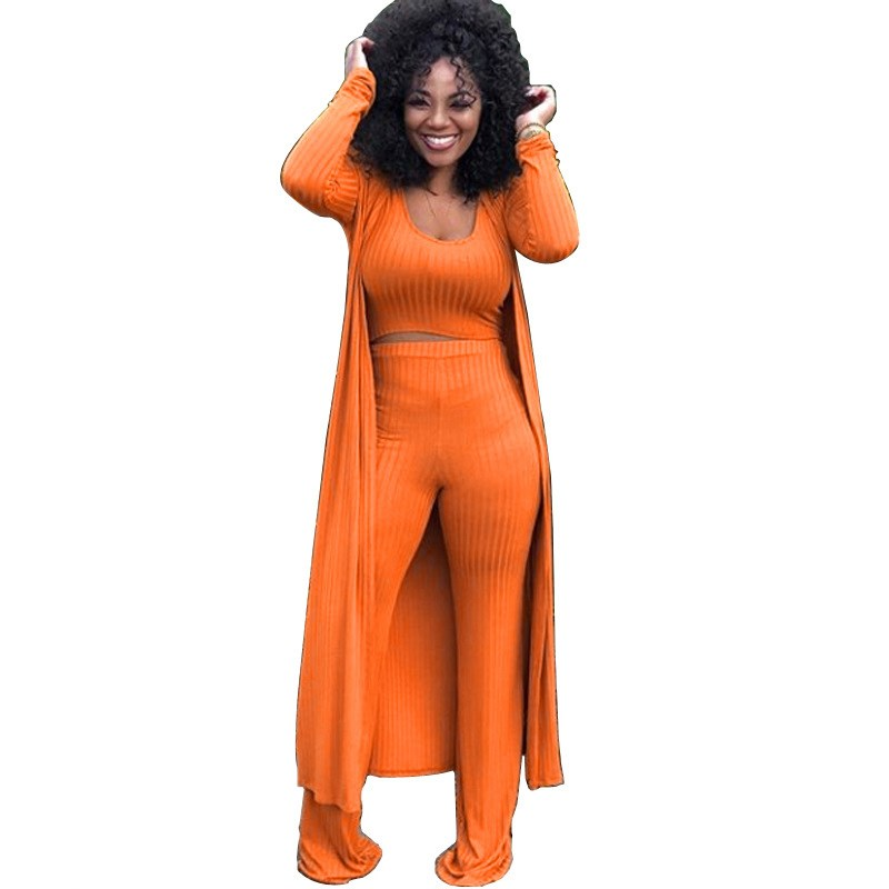 Autumn Sexy 3 Three Piece Matching Suit Casual Winter High Elastic Crop Top And Wide Leg Pants And Long Cardigan Women Sets