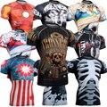 Homens Camisas De Compressão GINÁSIO MMA Rashguard Aptidão Mangas Curtas Da Pele Camada de Base Apertado Treinamento de Levantamento de Peso Correndo Camisas de T
