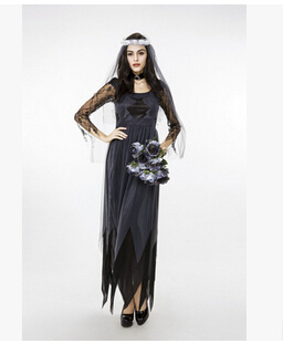 free shipping Lace gauze gown Female money Halloween cosplay costume M-2XL  BLACK