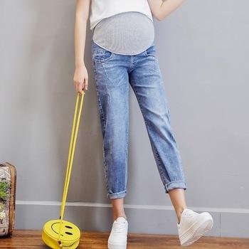 0402fc083 Vintgae Denim lavado vaqueros de maternidad para las mujeres embarazadas  ropa cintura elástica del vientre pantalones de embarazo Gravidas ropa 2019
