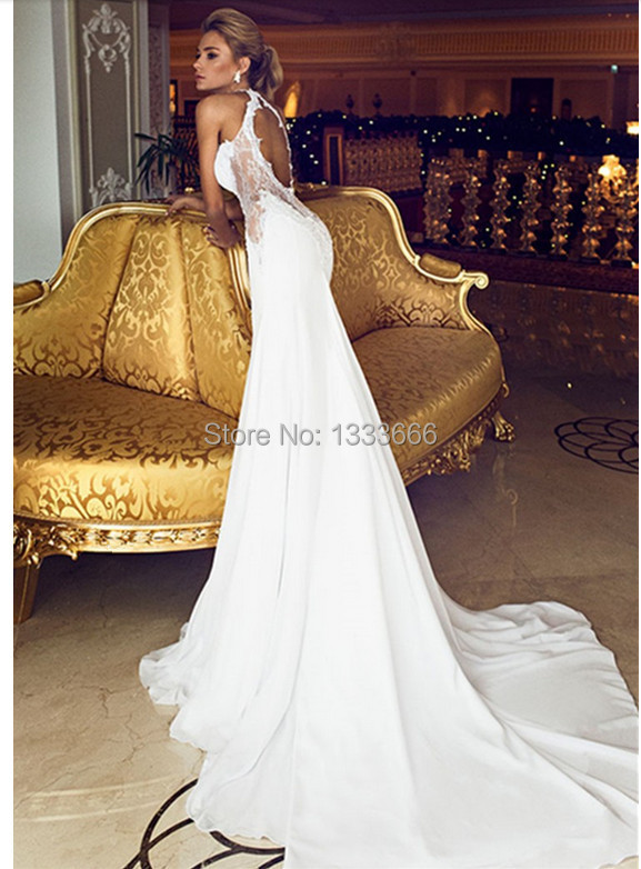 2017 New Winter Fishtail Wedding Dress White Lace Open Back The Reins Of Bride Church Train Custom Vestido De In Dresses From Weddings Events