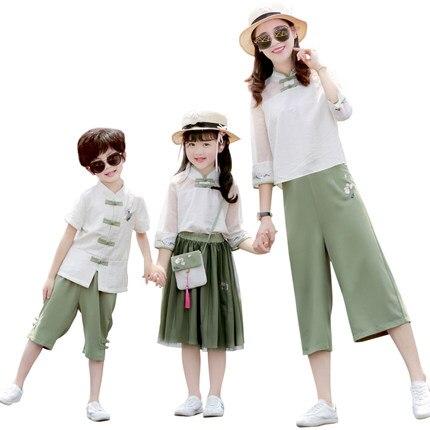 Mère père bébé famille correspondant tenues chinois Style Vintage costumes mère et fille robe Hanfu à manches longues robes Z832