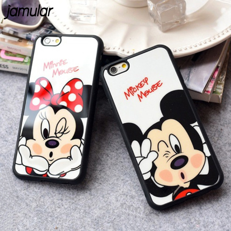 JAMULAR Cartoon Minnie Mickey Mouse Phone Case for iphone X 7 6 6s 8 Plus Silicone Mirror Cover for iphone 6 6s 5s SE Case Shell