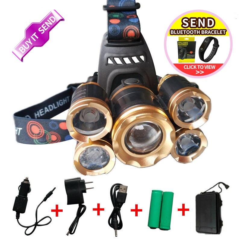 20000 lumens rechargeable 5 Led T6 + Q5 zoomable tête lampe de poche phare t6 lampe frontale étanche lumières UE/ NOUS/85