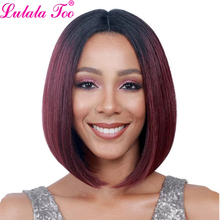 Ombre Red Synthetic Bob Wigs Short Straight Wigs For Women African American Wig Heat Resistant Blonde Black Brown Burgundy Pink стоимость