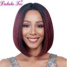 купить Ombre Red Synthetic Bob Wigs Short Straight Wigs For Women African American Wig Heat Resistant Blonde Black Brown Burgundy Pink по цене 846.05 рублей
