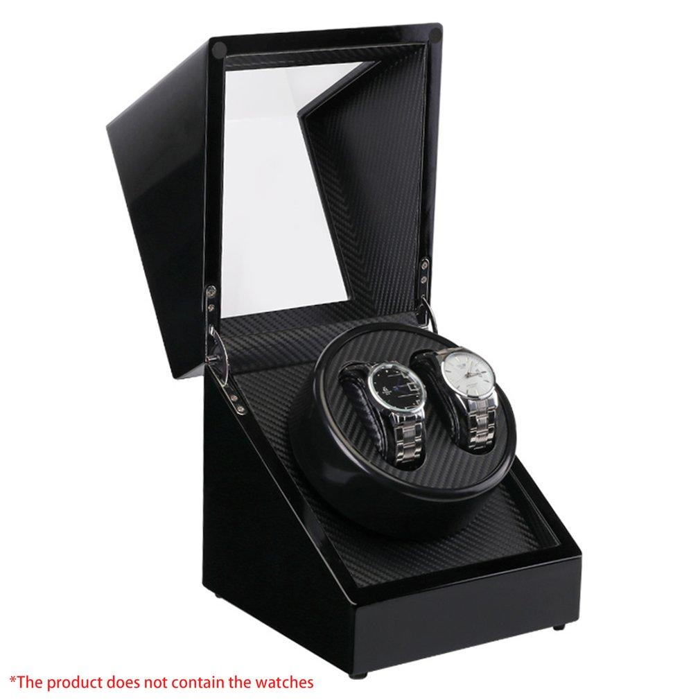 Двойные часы Winders деревянный лак пианино глянцевый черный углеродного волокно тихий двигатель хранения Дисплей Часы Box США Plug