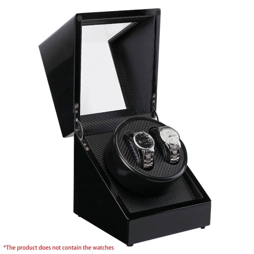 цена Double Watch Winders Wooden Lacquer Piano Glossy Black Carbon Fiber Quiet Motor Storage Display Watches Box US Plug