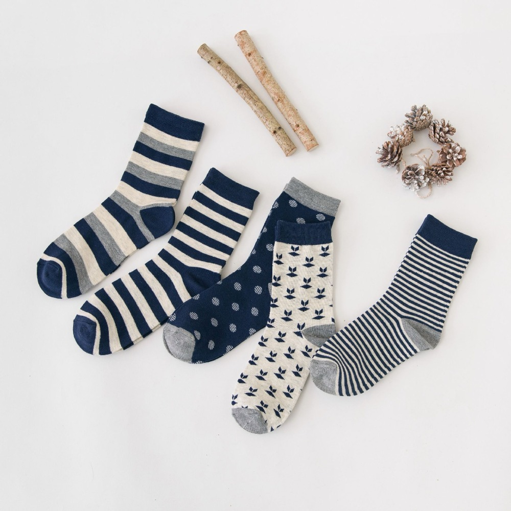 Autumn Winter Men Casual Cotton Socks StandardBusiness Male Socks Middle Tube British Academy Style Stripe Square Print Pattern
