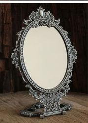 2X увеличительный винтажный складной стол с двойным лицом, настольный Ретро металлический макияж, косметическое зеркало с тиснением розы, м...
