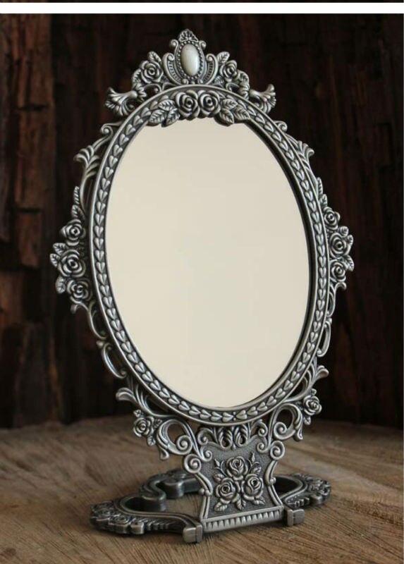 2x grossissant vintage double face table pliante bureau retro metal maquillage cosmetique miroir en relief rose petit 335 s