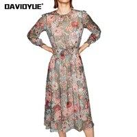 Boho Floral Print Chiffon Dress Women Two Pieces Set Long Sleeve Party Dresses Summer Vintage Elastic