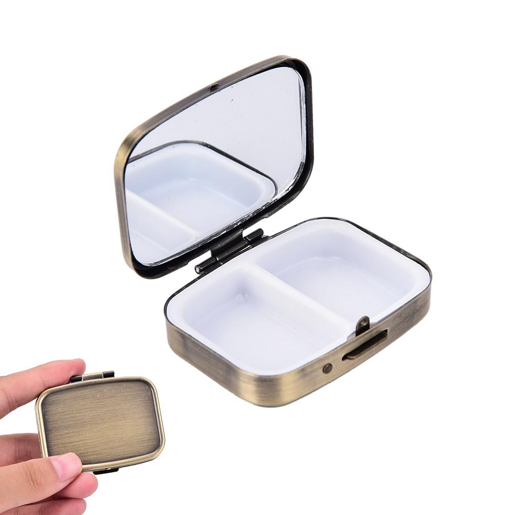 2 Grid Moistureproof Medicine Holder Pill Storage Box Bronze Metal Rectangle Waterproof Sterile Package Box 56*44*15mm