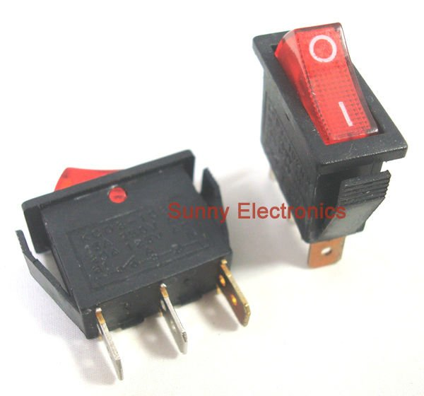 100 PCS 3Pin ILLUMINATED ROCKER SWITCH RED SPST 20A 125VACin Car Switches & Relays from