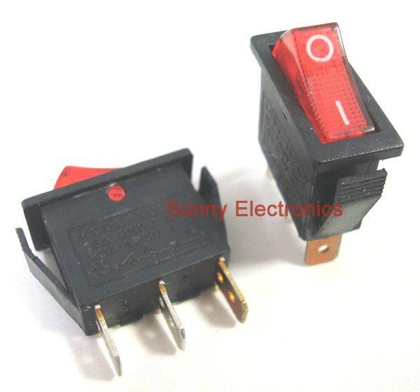 110v Indicator Light Wiring Diagram 100 Pcs 3pin Illuminated Rocker Switch Red Spst 20a 125vac