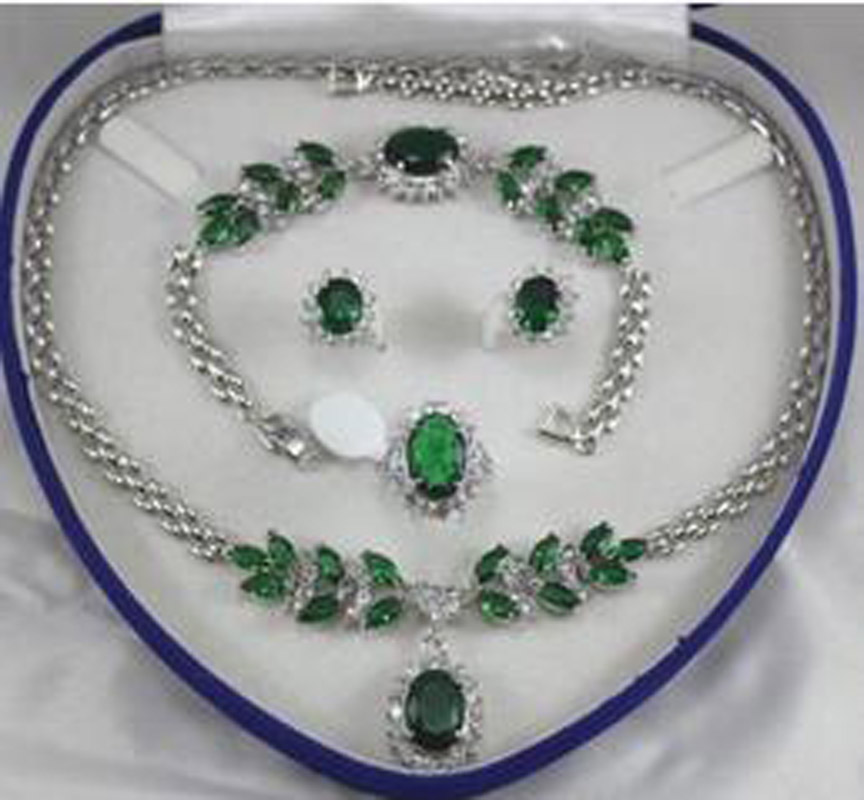 New Fine jewelry green zircon White gold Necklace Bracelet Earring Ring + no box free new fashion women s necklace 18 bracelet 7 5 earring ring no box