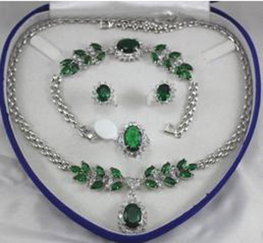 New Fine jewelry green zircon White gold Necklace Bracelet Earring Ring + no box free new women s fashion white necklace bracelet earring ring no box aa565
