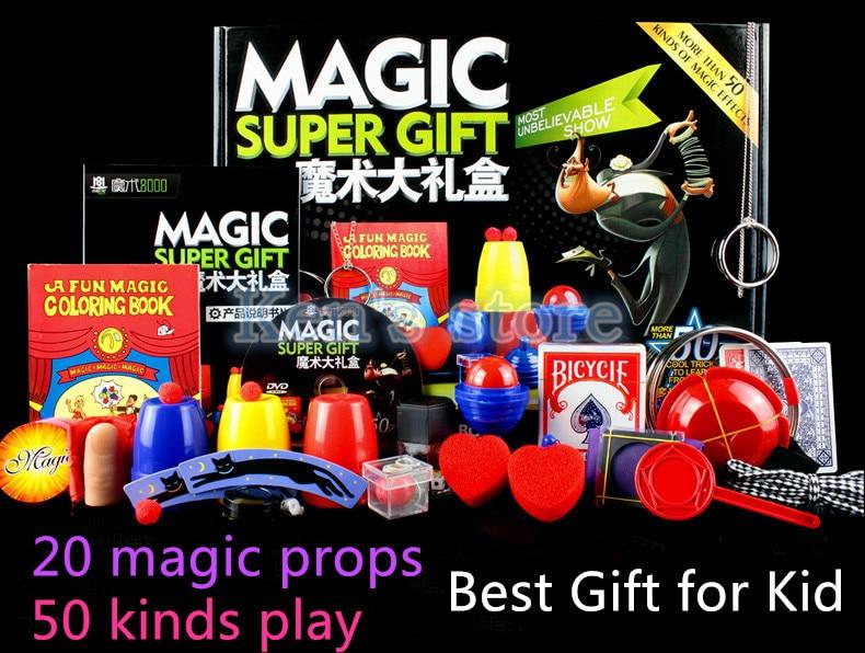Magic Trick Set 50 Kinds Magic Play with DVD Teaching Professional Magic Tricks Stage Close Up Magic Prop Gimick Card Puzzle Toy