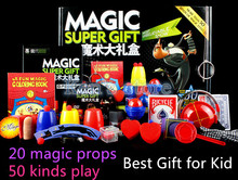 Magic Trick Set 50 Kinds Magic Play with DVD Teaching Professional Magic Tricks Stage Close Up Magic Prop Gimick Card Puzzle Toy(China)