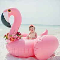 150CM Water Party Giant Bioa Flamingo Tube Pool Toy Float Inflatable Pink Cute Ride On Pool Swim Ring For Holiday Fun