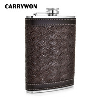CARRYWON Personalized Alcohol Flask 9 Oz Grid Pattern PU Leather Stainless Steel Mini Hip Flask Camp