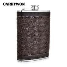 CARRYWON Alcohol Frasco 9 oz Personalizado Patrón de Rejilla de LA PU de Cuero Mini Acero Inoxidable Petaca Petaca Campamento Portátil Al Aire Libre