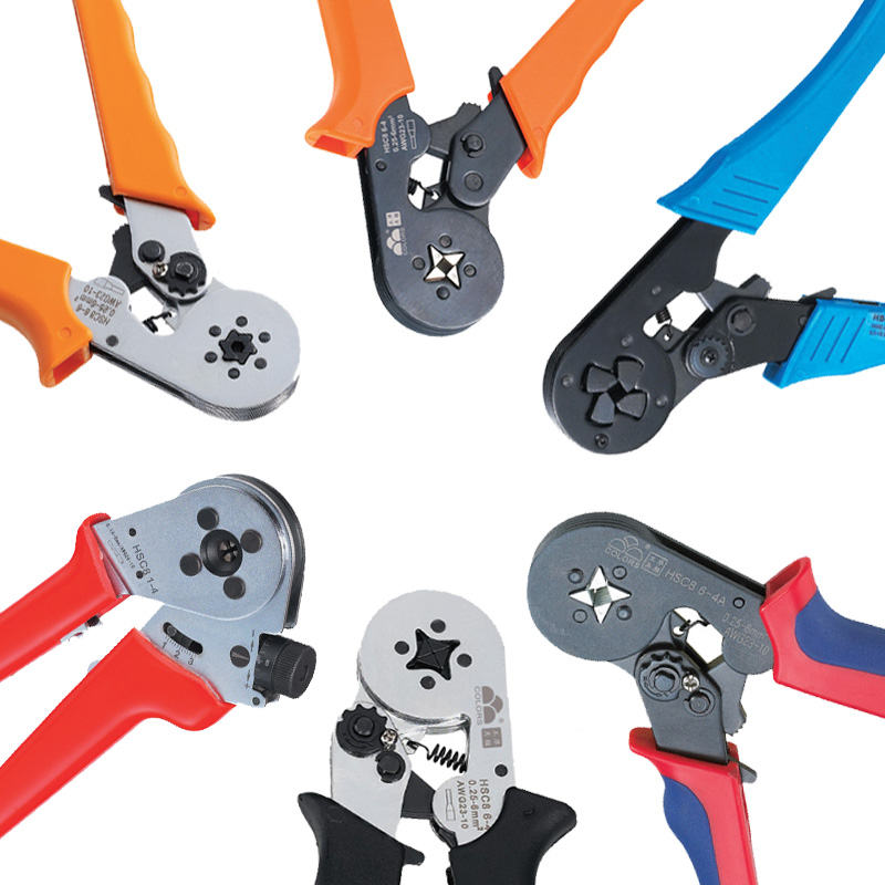 6sizes/4colors Bootlace Crimper 4-16mm2 Ratchet Ferrule Terminal Crimping Tool wire end