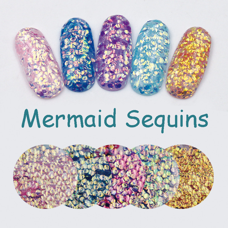 Nya 1Bag Färgrika Mermaid Sequins Solvent Resistant Nail Glitters Kameleon Nail Sequins Sparkle Manicure 3D Nail Art Decoration