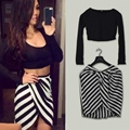 Sexy Party Dresses New Women 2017 Summer Sexy Bandage Mini Two Piece Dress Black and White Striped Bodycon Dress vestidos