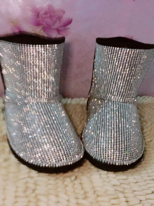 winter women shoes plus size 44 flats snow boots bling bling crystal shoes round toe Brand design rhinestone ankle boots girls все цены