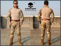 Emerson Gen2 Combat Uniform Set Military Combat Shirt & Pants with knee pad & elbow pad A Tacs Camo EM6912