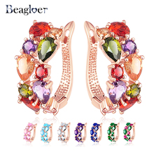 Beagloer Multicolor Earrings Rose Gold Color Micro Inlay AAA Cubic Zirconia Stud Earring For Women Red Pink White CER0143