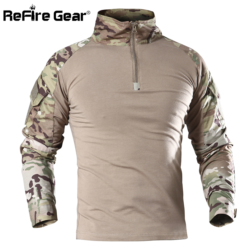 ReFire Gear US Army Military Uniform Combat Shirt Men Assault Tactical Camouflage T Shirt Airsoft Paintball Long Sleeve Shirts
