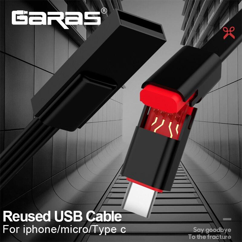 GARAS Reutilizáveis Cabo USB Para iPhone/Micro USB/USB Tipo C Cabo de Dados Carregador Rápido Para iPhone/ xiaomi/Huawei Reutilizado Cabo USB Micro
