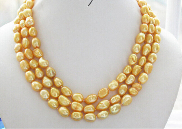 NICE 3row 12mm yellow baroque freshwater pearl necklace Factory Wholesale price Women Gift word Jewelry