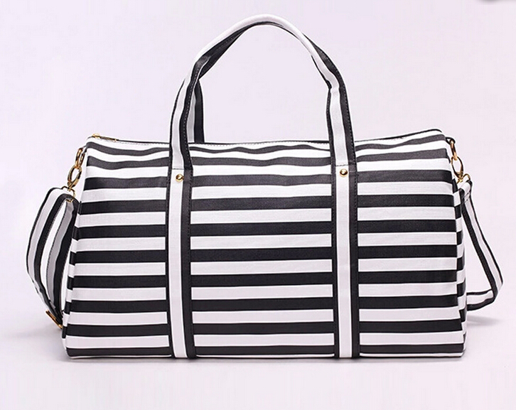 Fashion Men women Travel Bag black white Large Capacity Messenger pu leather Bags with zipper shoulder handbag h-658