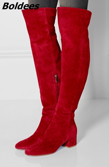 Fancy Red Suede Block Heel Long Boots Stylish Women Simply Design Round Chunky Heel Knee High Boots Celebrity New Arrival the simply red simply red big love