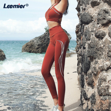 Yoga Set Women Gym fitness clothing 2 piece High Waist Leggings Sexy Crop Top Solid Fitness Outfit