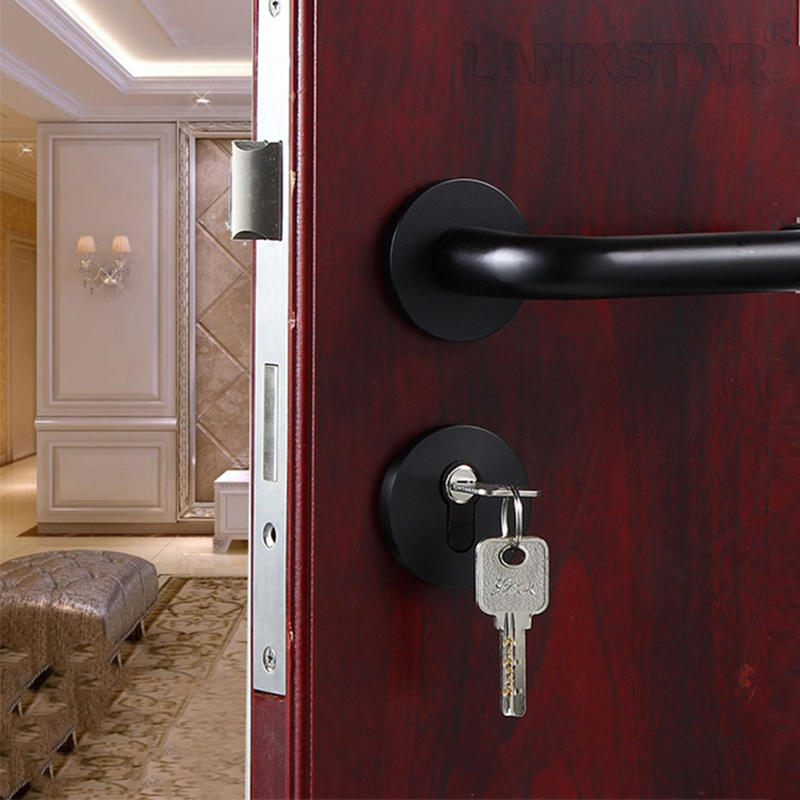 luminum Space Split Mechanical Lock Indoor Lockset Handle Locks Simple Sub Black Color Room Door-lock