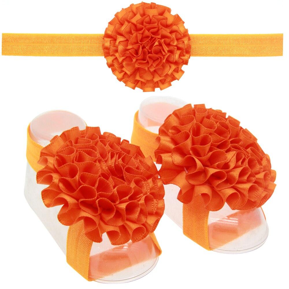 13 Sets Baby girl Ribbon Flower Sandals Barefoot And Flower Headband Kids Hair Accessories Children Headwear