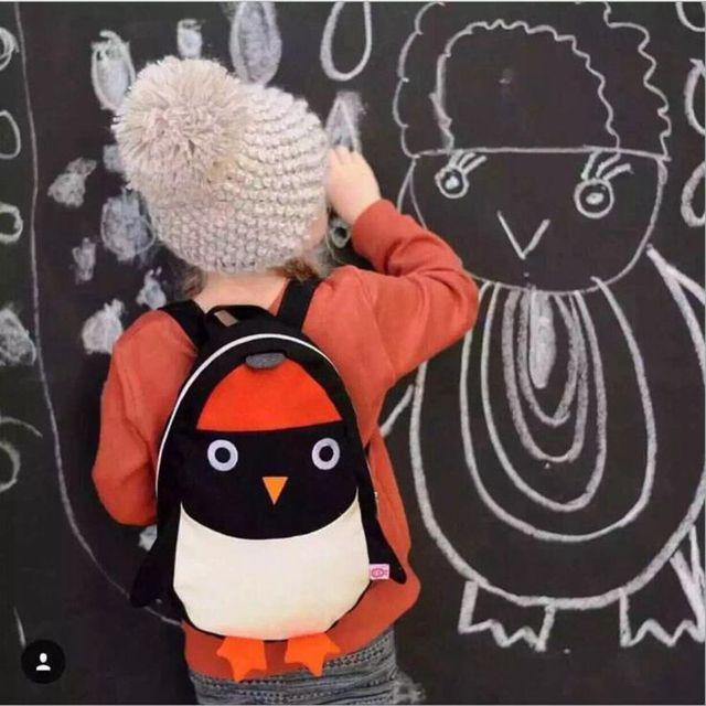 Ins New Children Menina Menino Pinguim Dupla Ombro Do Bebê Mochila Anti-lost Mochila