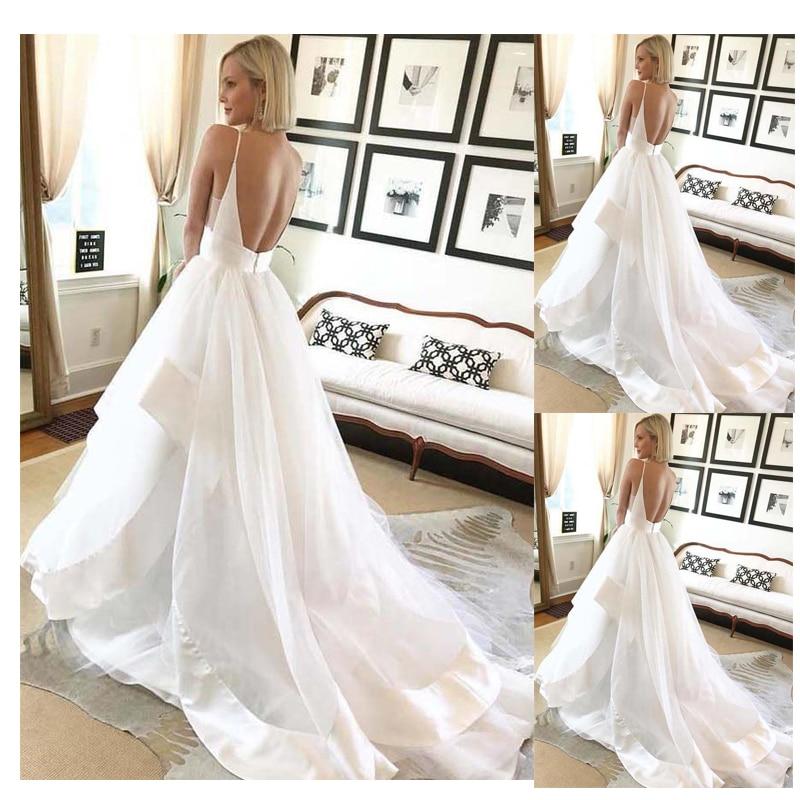 SoDigne Wedding Dress Simple Bride Dress 2019 Spring Summer Wedding Dresses Sleeveless Backless Sexy Wedding Gowns  Custom Made Платье
