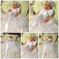 2016 Bling Beaded White/ivory lace infant baptism baby girl christening gowns long dress communion dresses with bonnet for girls