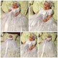 2016 Bling Beaded White/ivory lace infant baptism baby girl christening gowns long dress communion dresses with bonnet for girls