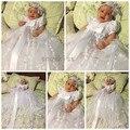 2016 Bling Frisada Branco/marfim rendas batismo infantil menina bebê batizado vestidos vestido longo vestidos de comunhão com a capota para meninas