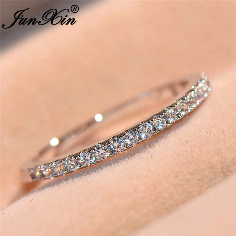 JUNXIN Chic Stackable Single Row Thin Rings For Women Silver Color Round Zircon White Birthstone Ring Minimalist Wedding Jewelry