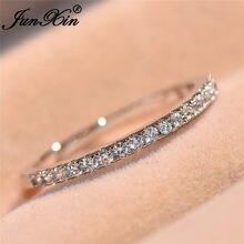 JUNXIN-anillo apilable de una sola fila para mujer, joyería de boda minimalista, Color plata, circonita redonda, piedra de nacimiento blanca