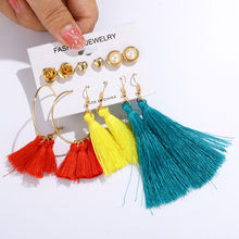 6pcs/Sets Multicolor Tassel Fringe Earrings Drop Love Star Pearls Earrings Sets for Women Big Circle Hoop Earring Gifts(China)